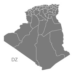 Algeria provinces Map grey