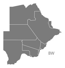 Botswana districts Map grey