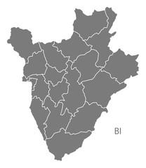 Burundi provinces Map grey