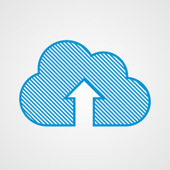 Blue cloud upload icon
