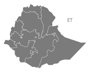 Ethiopia regions Map grey
