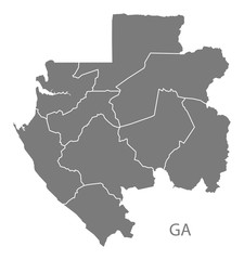 Gabon provinces Map grey
