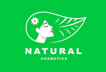Illustration girl logo, natural cosmetics