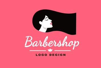 Logo brunette girl, Barber and fashion