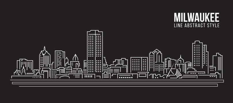 Cityscape Building Line art Vector Illustration design - Milwaukee city