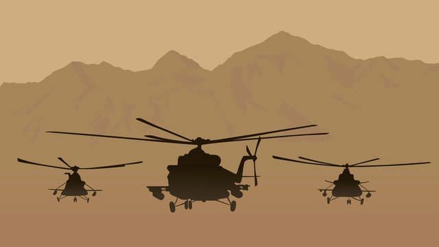 Illustration, fighting helicopters in attack.