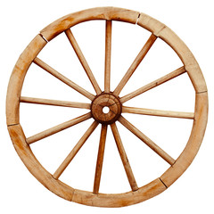 Ancient wooden grunge wagon wheel in country style isolated on w