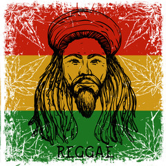 Reggae concept design. Tattoo art. Retro banner, card, t-shirt, bag, print, poster. Hand drawn vector illustration