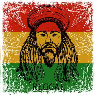 Reggae concept design. Tattoo art. Retro banner, card, t-shirt, bag, print, poster. Hand drawn vector illustration