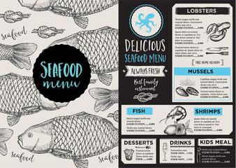 Menu seafood restaurant, template placemat.