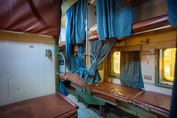 Grungy Interior of Indian Train