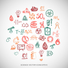 Multicolor doodles Hand Drawn Science Icons set on White. EPS10 vector illustration.