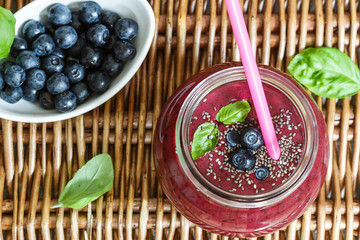 Healthy Breakfast. Summer dessert. Smoothies of blueberries with Chia seeds and fresh juicy berries. Selective focus