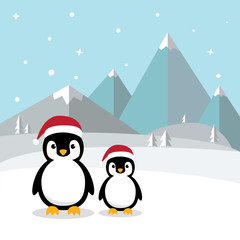 Cute Penguins standing on white snow with Antarctica's winter background. Penguins wearing santa hat with ice mountain flat design vector illustration.