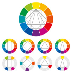 Color wheel with four different geometric forms that can be turned around in the circle to show many possible harmonic combinations of colors in art and for paintings. Color theory. Illustration.