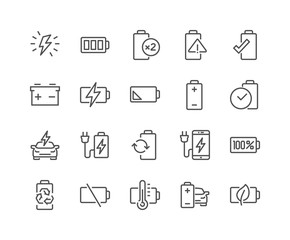 Line Battery Icons