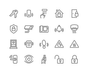 Line Home Security Icons