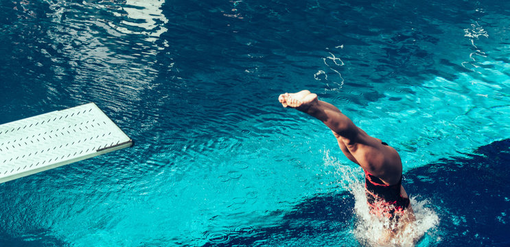 Diving from springboard