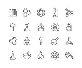 Line Chemical Icons