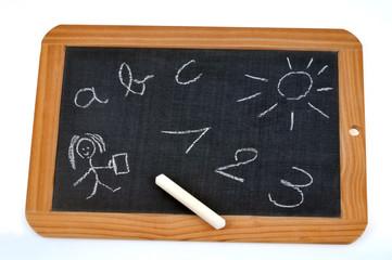 Ardoise avec chiffres et lettres