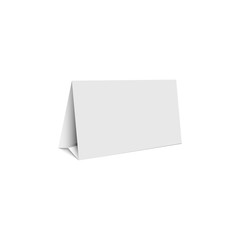 Mockup white blank promotion banner holder, isolated table stand template form tent