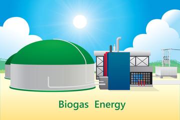 Vector illustration of biogas energy/biogas power plant.