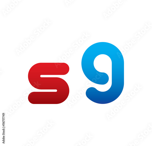 s9 logo initial blue and red