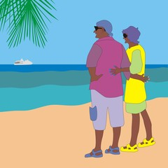 Illustration of an elderly couple on the beach watching the white ship on the horizon