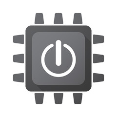 Isolated CPU chip icon with an off button
