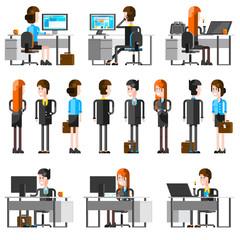 Office People Cartoon Icons Set