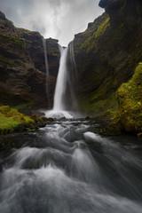Long exposure image of waterfall, skogar, iceland