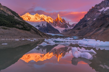 Sunset over snow covered mountains, argentina