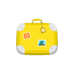 Yellow travel bag suitcase with stickers on isolated white background. Summer travel handle luggage. Flat vector icon illustration.