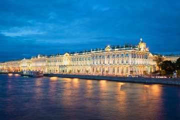 The Winter Palace from Palace embankment during the white nights. Saint Petersburg