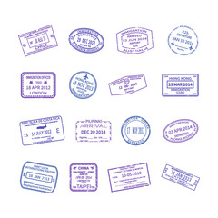 Vector international travel visa stamps set