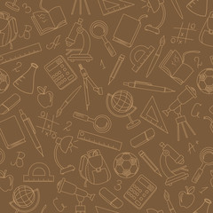 Seamless pattern on the theme of the school, a simple contour icons, sepia