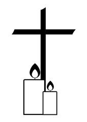 Kreuz mit zwei Kerzen modern und schlicht