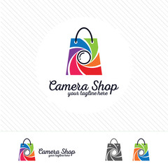 Shopping logo design vector , camera and aperture symbol on shopping bag.