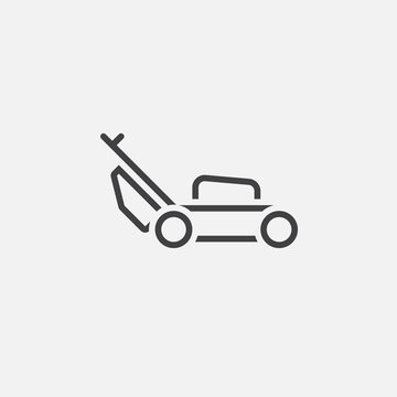 lawn mower line icon, outline vector logo illustration, linear pictogram isolated on white