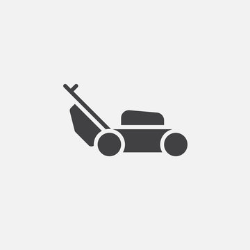 lawn mower icon vector, solid logo illustration, pictogram isolated on white