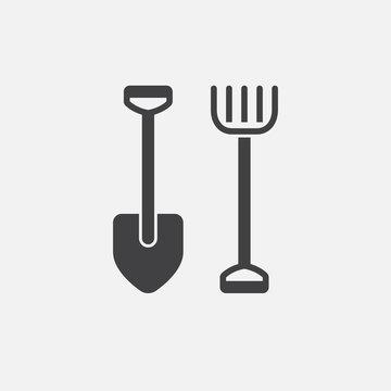 Shovel and rake icon vector, solid logo illustration, pictogram isolated on white