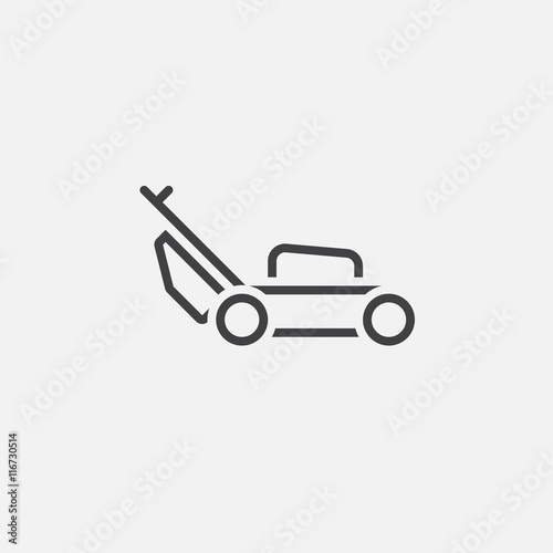 lawn mower logo. lawn mower line icon, outline vector logo illustration, linear pictogram isolated on white n