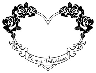 Heart-shaped silhouette frames with roses. Vector clip art