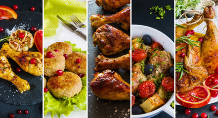Collage from photos of different dishes with chicken. Whole chicken, chicken legs and cutlets.