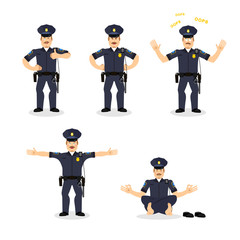 Police set of motion. Cop set different poses. Constable man exp