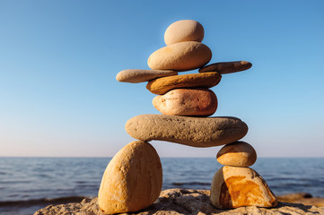 Inukshuk on seashore