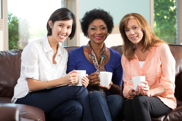 Diverse group of friends having coffee