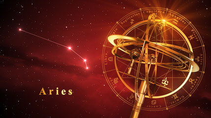 Armillary Sphere And Constellation Aries Over Red Background