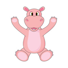 Hippo waving a paw on white background in vector