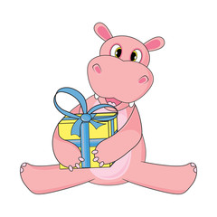 Hippo sitting and holding gift on white background in vector